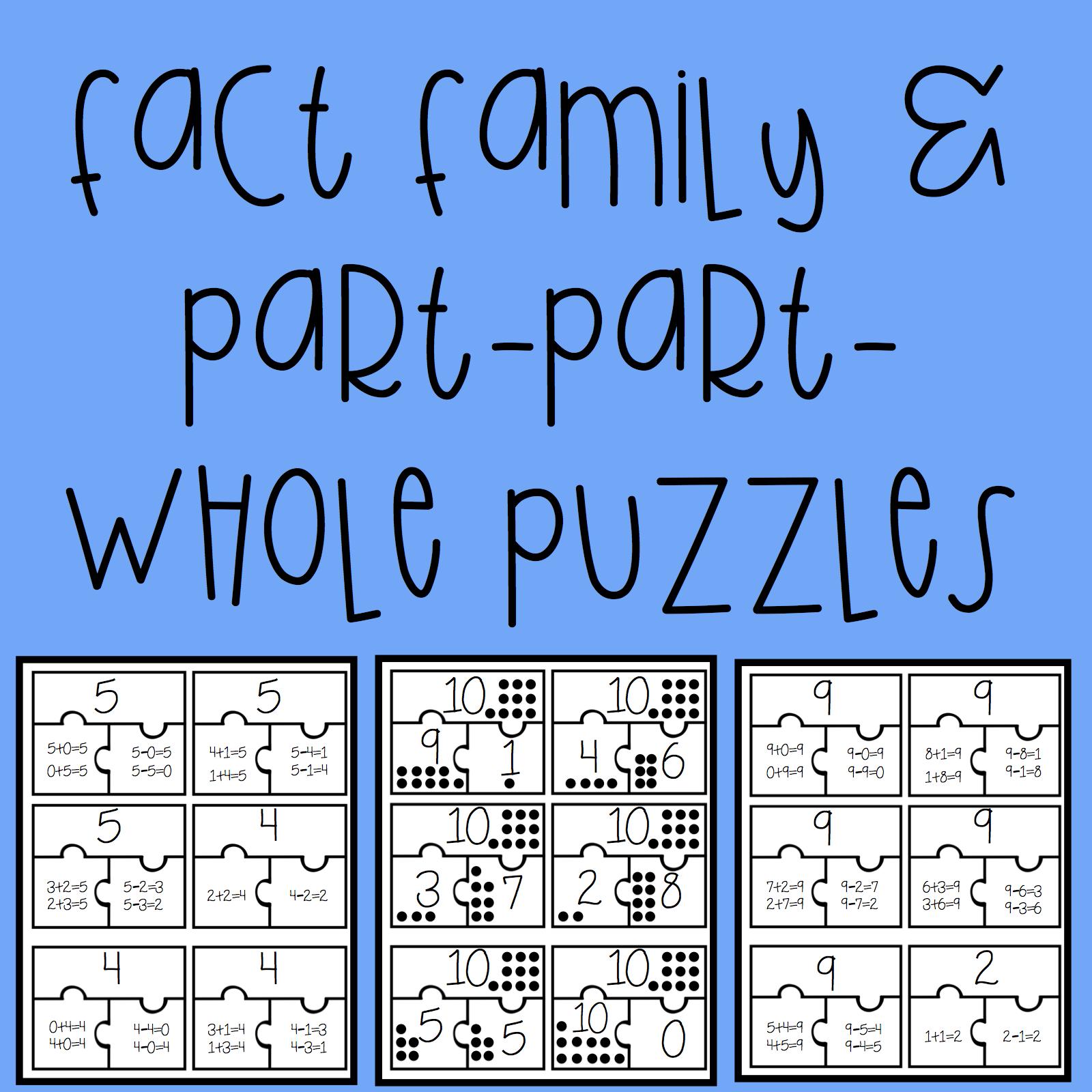 Fact Family Amp Part Part Whole Puzzles