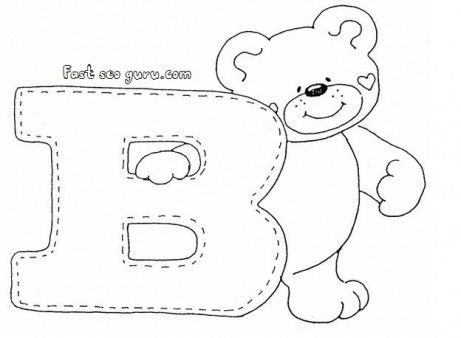Free Print out letter B is for bear coloring pages for