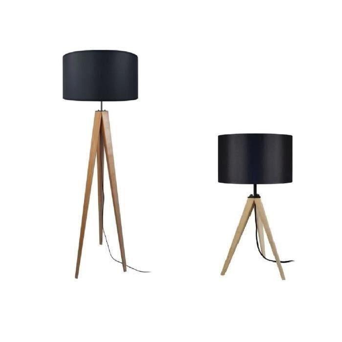 LAMPADAIRE IDUN Lampadaire lampe  poser trépied bois massif