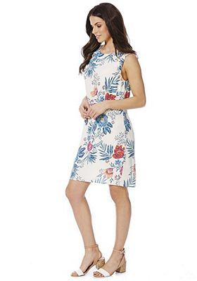 4a9e66dccb4 F F Tropical Print Ruffle Trim Shift Dress