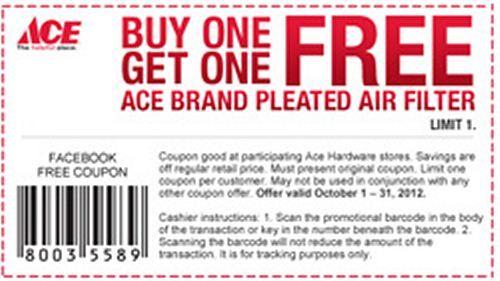 Ace Hardware Bogo Free Air Filter Printable Coupon Printable Coupons Air Filter Printables