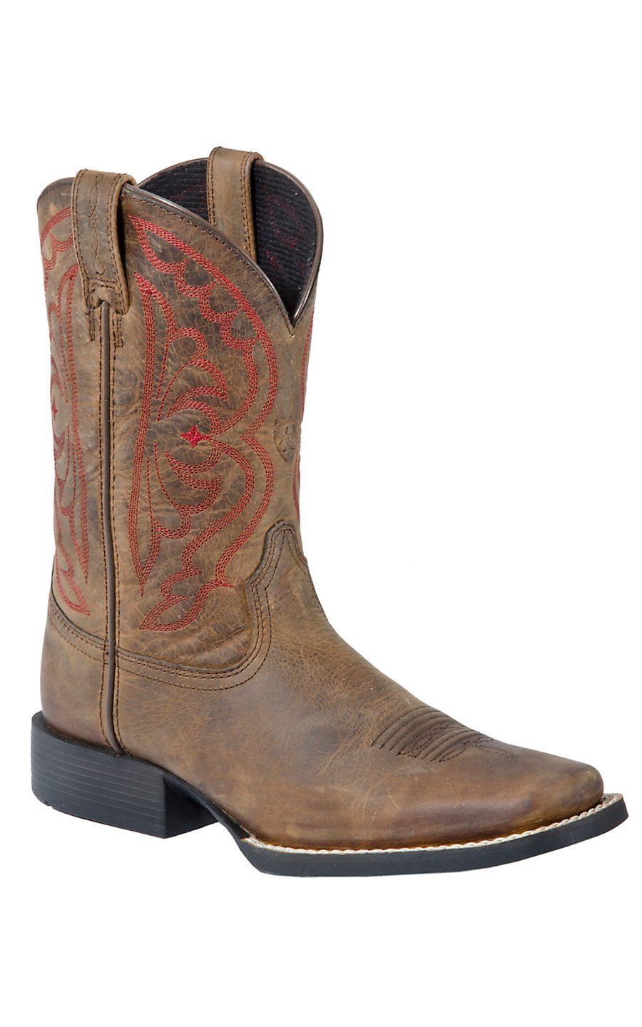 Ariat® Youth Distressed Brown Quickdraw Boots w/Red Stitching-I ...