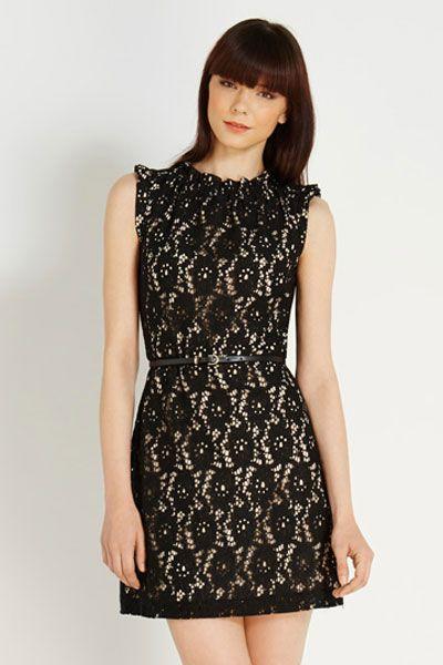 Black High Neck Lace Skater Dress With Belt Would Wear