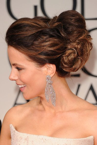 Kate Beckinsale Bobby Pinned Updo Hair Beauty Long Hair Updo Wedding Hairstyles For Long Hair