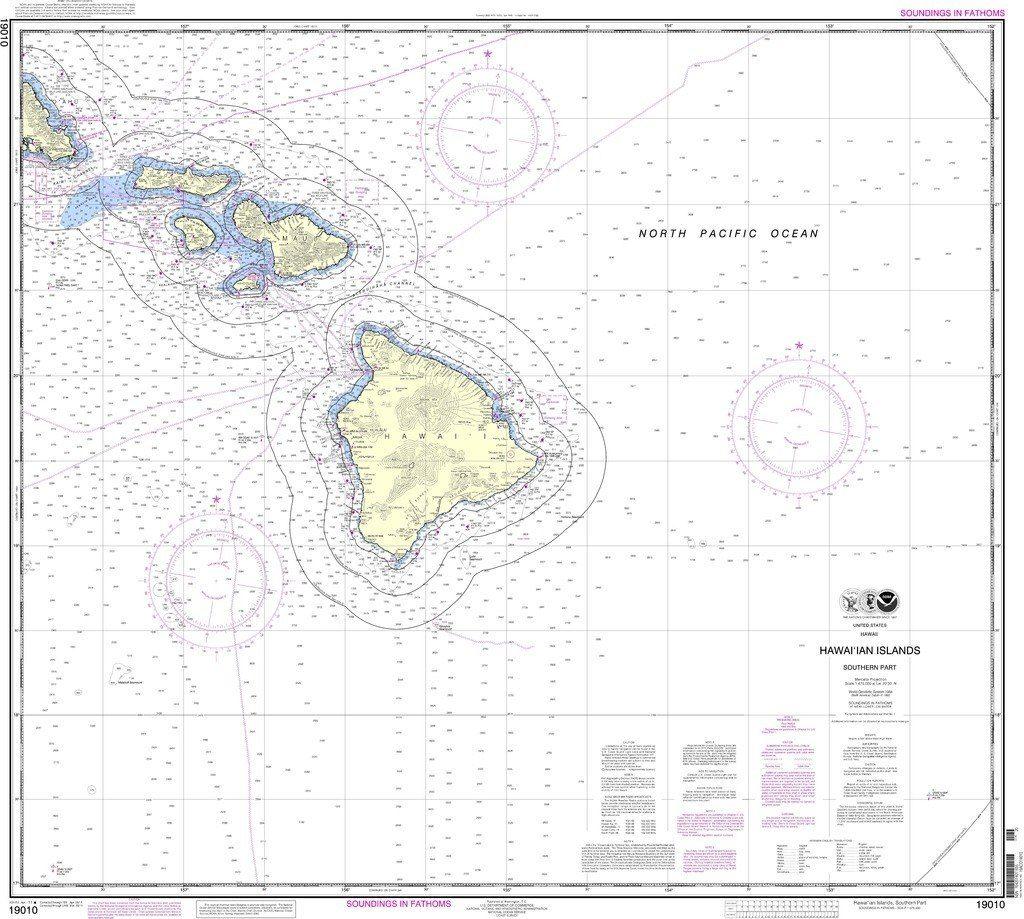 Noaa Nautical Chart 19010 Hawai Ian Islands Southern Part Nautical Chart Travel Map Pins Chart