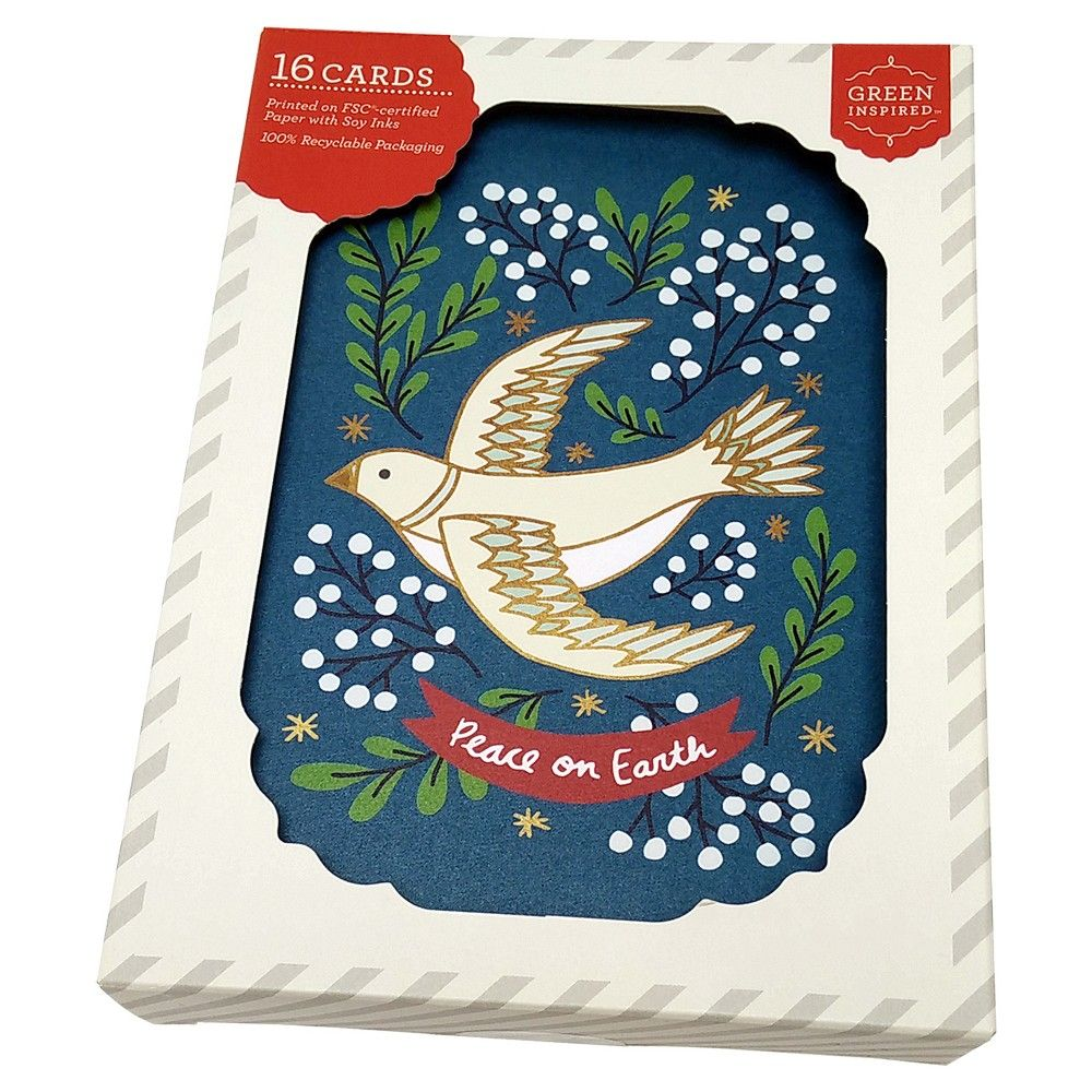 16ct Mistletoe Dove Holiday Boxed Cards, Card box