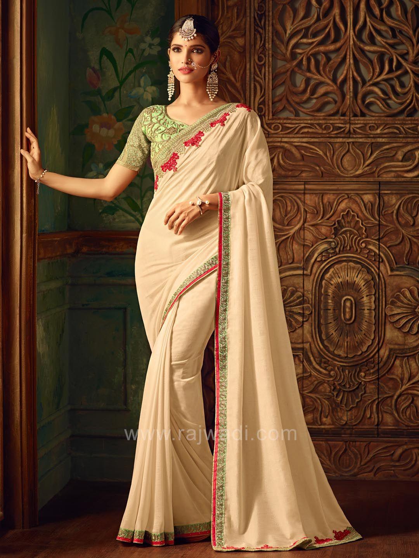 4817b12aac9e27 Plain Cream Party Wear Saree with Border Work  rajwadi  saree  ethnicwear   occasionwear  sareeswag  traditional