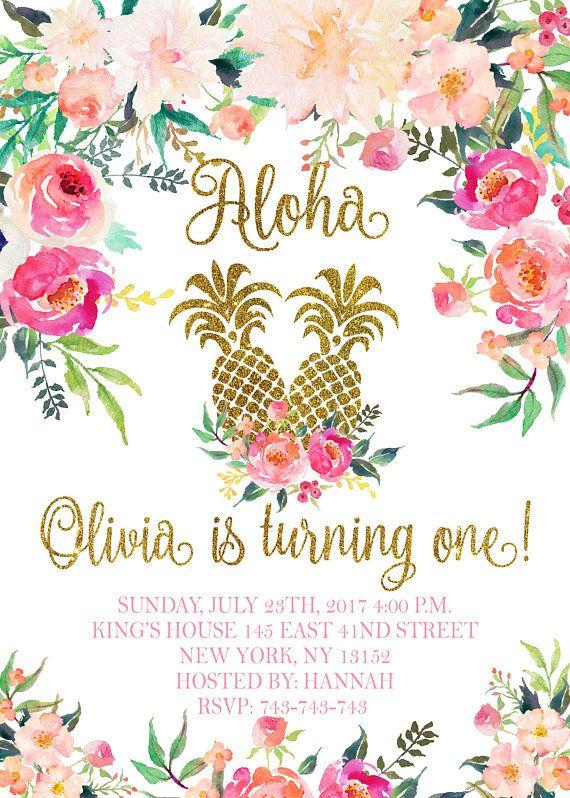 Pineapple Birthday Invitation Aloha Birthday Invitation Luau