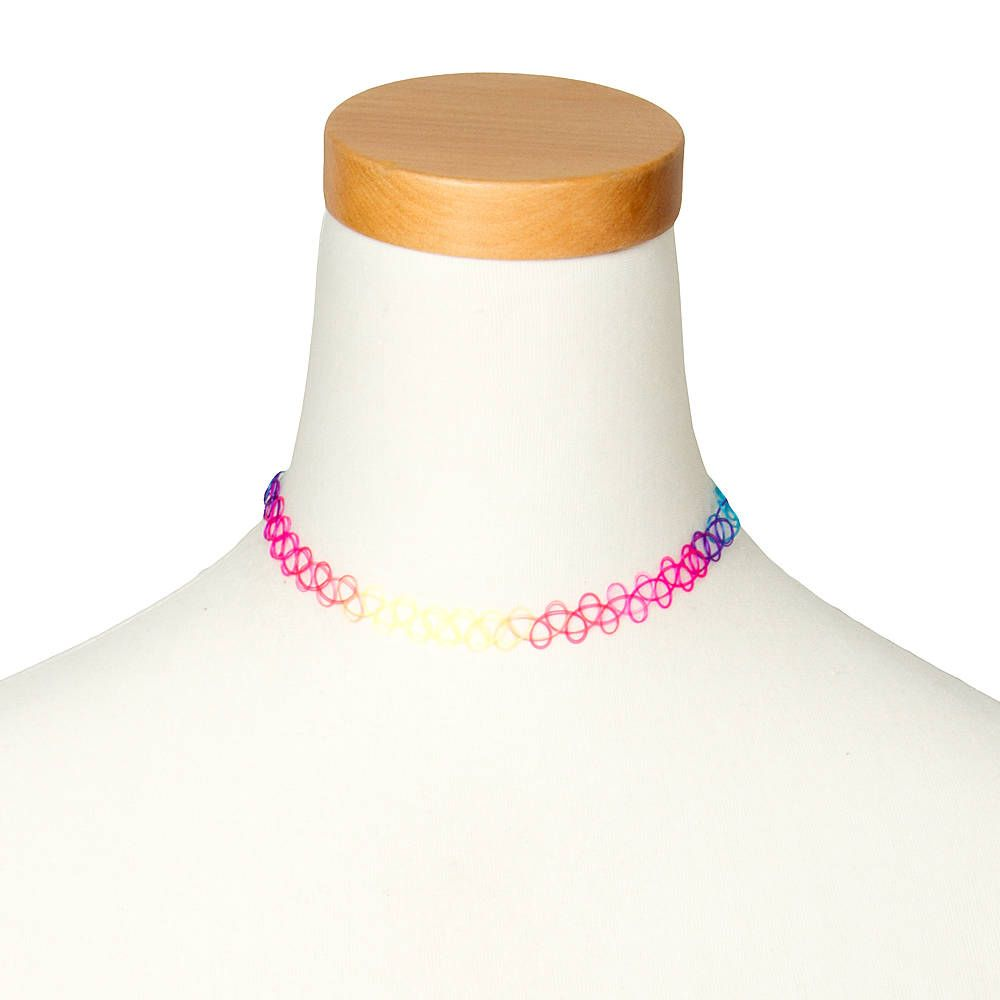 90s Retro Style Initial Tattoo Rainbow or Black Choker Necklace