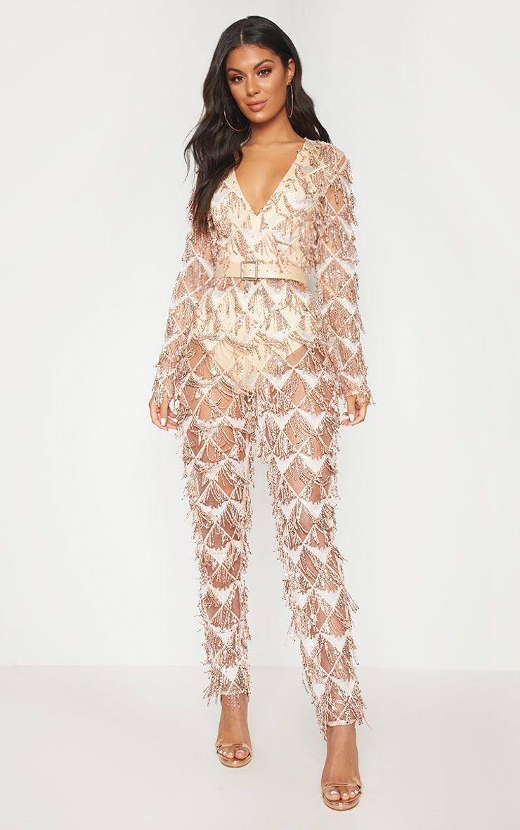 4650b6de075c Rose Gold Tassel Sequin Plunge Jumpsuit. Head online and shop this season s  range of jumpsuits   playsuits at PrettyLittleThing.