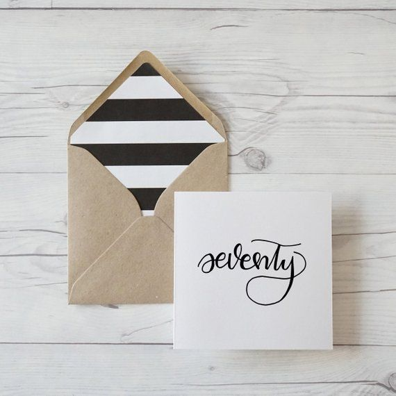 Seventy, Hand Lettered 70th Birthday Card With Kraft