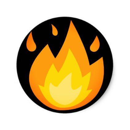 Intense Fire Emoji Classic Round Sticker | Zazzle com | emoji