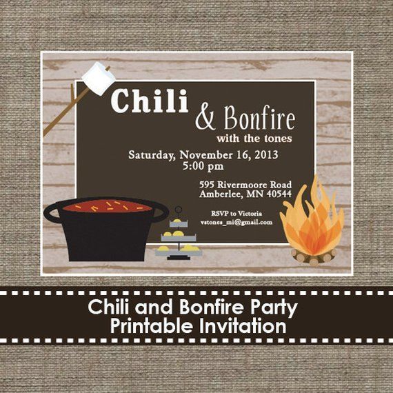 Chili and Bonfire Party Invitation - DIY - Printable