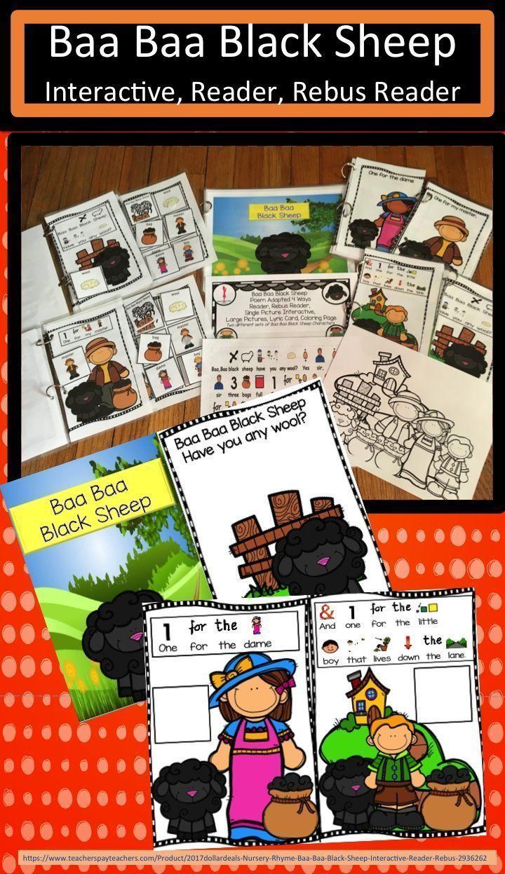 Nursery Rhyme Baa Baa Black Sheep, Interactive, Reader, Rebus ...