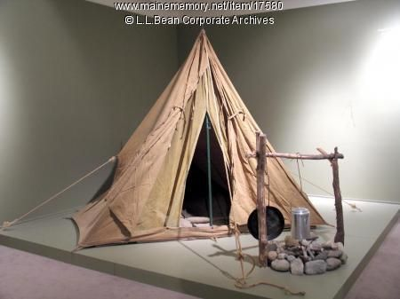 A-frame canvas camping tent from about 1940 - L.L.Bean corporate archives