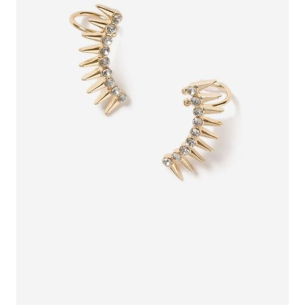 TopShop Spiked Double Ear Cuffs Pack (59 PEN) ❤ liked on Polyvore featuring jewelry, earrings, clear, spike earrings, rhinestone ear cuff, spikes jewelry, rhinestone stud earrings and topshop earrings