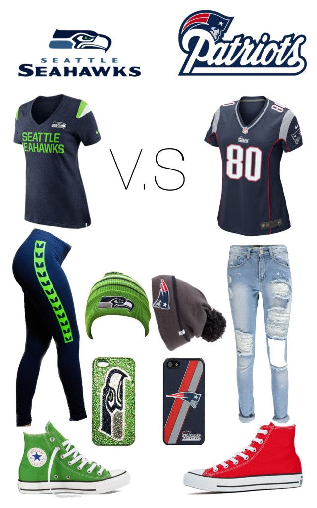 """SuperBowl Patriots V.S Seahawks"" by youngstylist2202 ❤ liked on Polyvore featuring NIKE, Converse, Barakà and Boohoo"