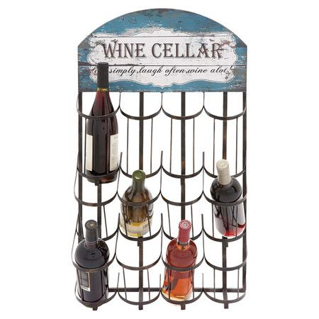 Display your favorite vintages in antiqued style with this wall-mount metal wine rack, featuring distressed detailing and space for 12 bottles. ...
