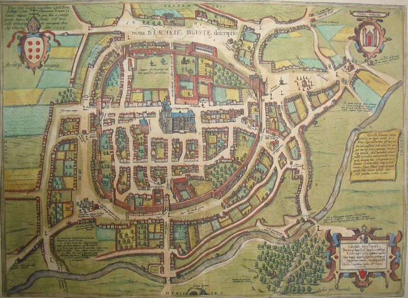 Braga Portugal Medieval Map Cartografia Mapas Antiguos