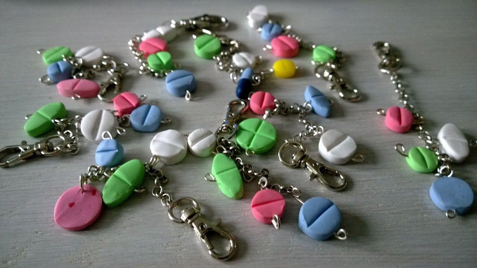 FIMO pills - key chains