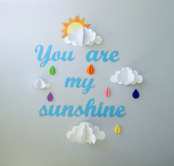 You are My Sunshine 3D Paper Wall Art/Wall by goshandgolly on Etsy, $36.00