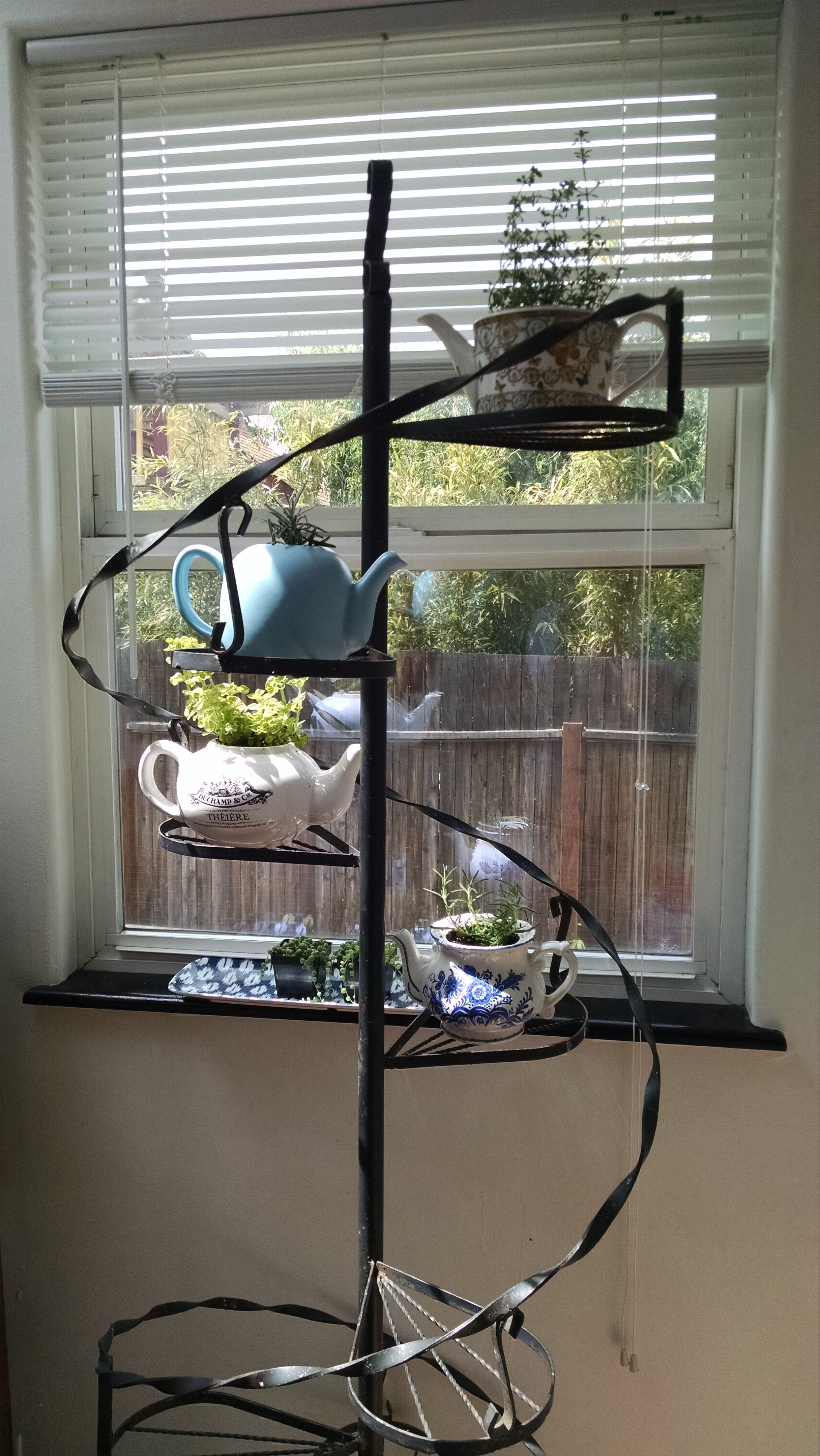 Vintage teapots and plant stand for kitchen herbs. Put window screen ...