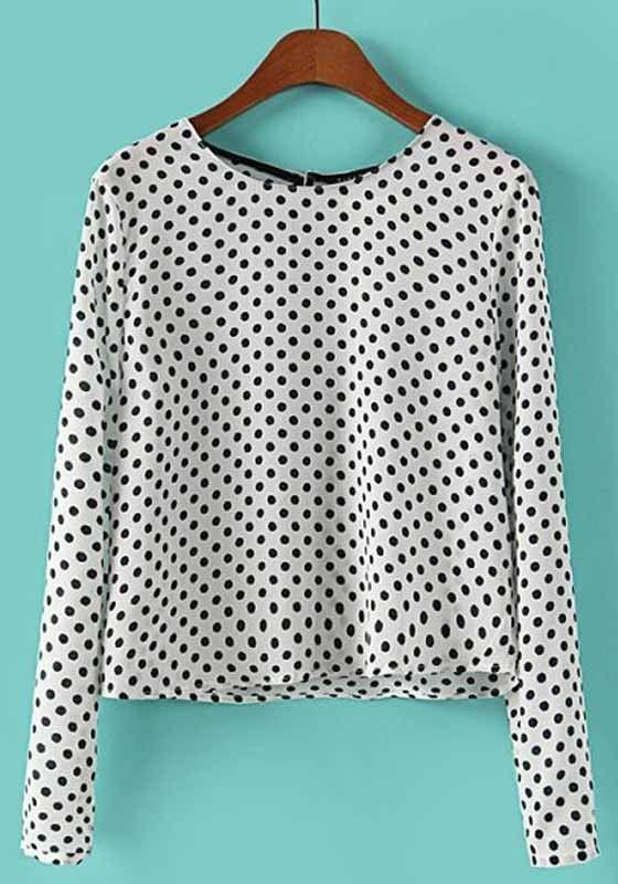White-Black Polka Dot Long Sleeve Chiffon Blouse