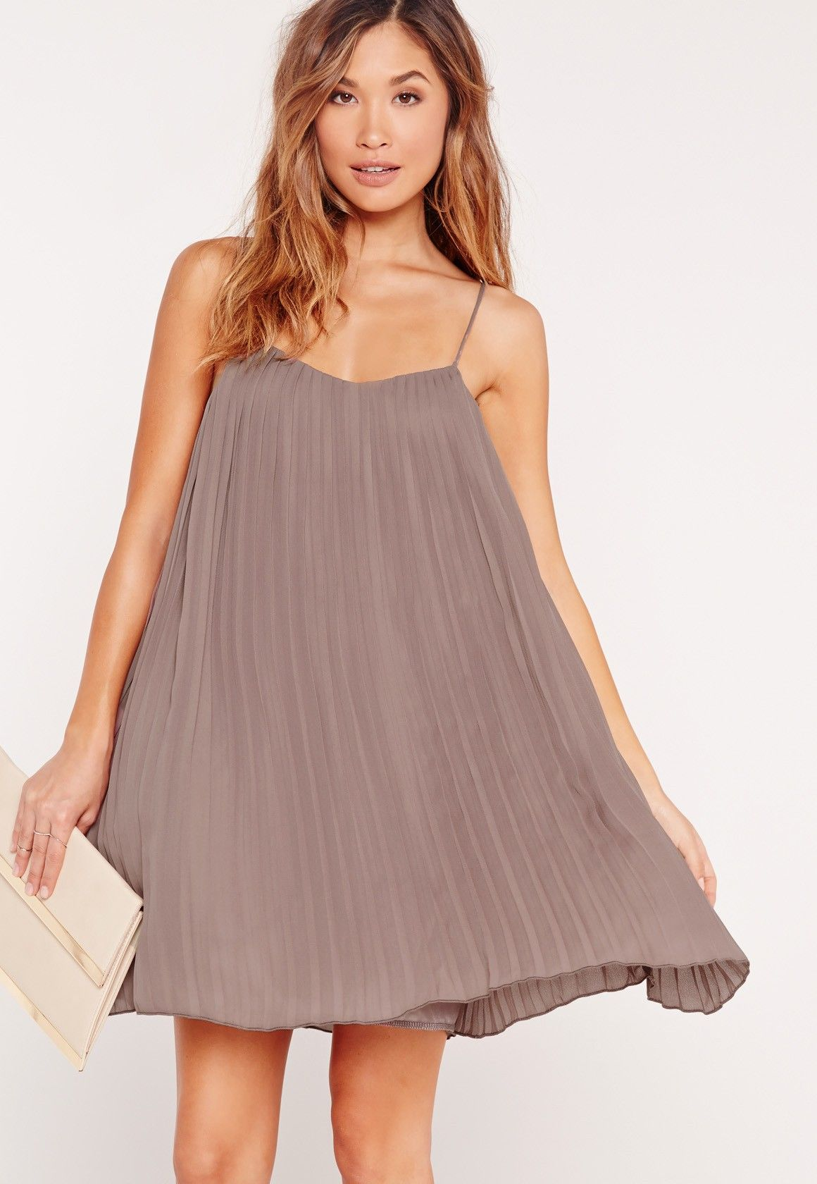 1931e98620f6 Missguided - Strappy Pleated Swing Dress Brown