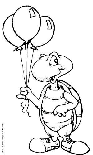 Turtle With Balloons Color Page Birthday Holiday Coloring Pages Plate Sheetprintable Picture By Whitney