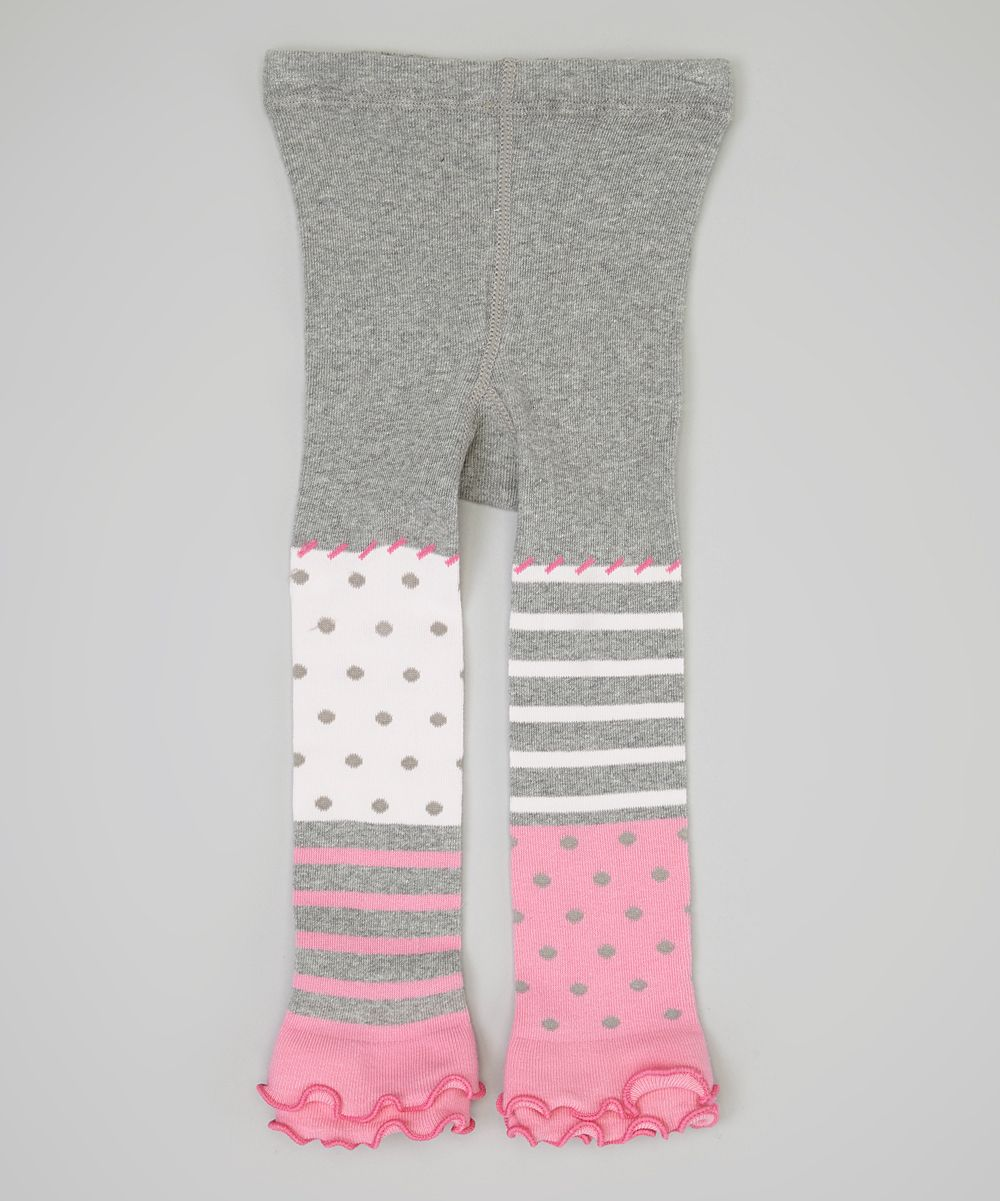 e0d0a2d7a Naartjie Kids Gray   Pink Polka Dot Footless Tights - Infant ...