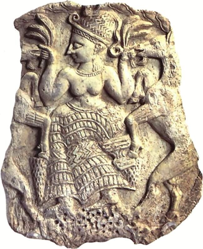 Syria - carving of the mother goddess Asherah - detail from an ivory box from Mīnat al-Bayḍāʾ near Ras Shamra (Ugarit), c. 1300 bc; in the Louvre