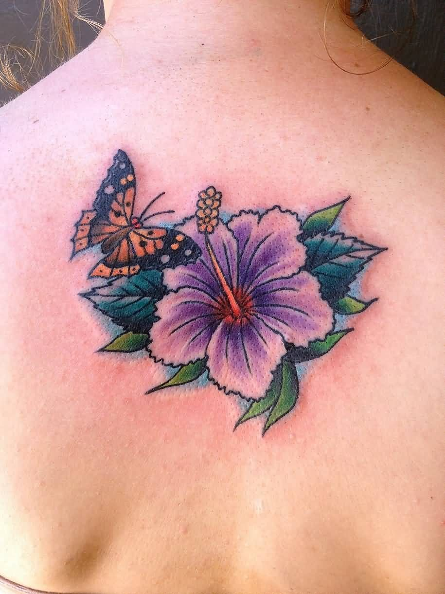 Butterfly Hibiscus Tattoo On Upper Back For Girls Jpg Hibiscus Tattoo Hawaiian Flower Tattoos Cute Shoulder Tattoos