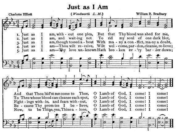 Just As I Am By Gospelhymns On Etsy Hymns Lyrics Hymn Music Bible Songs