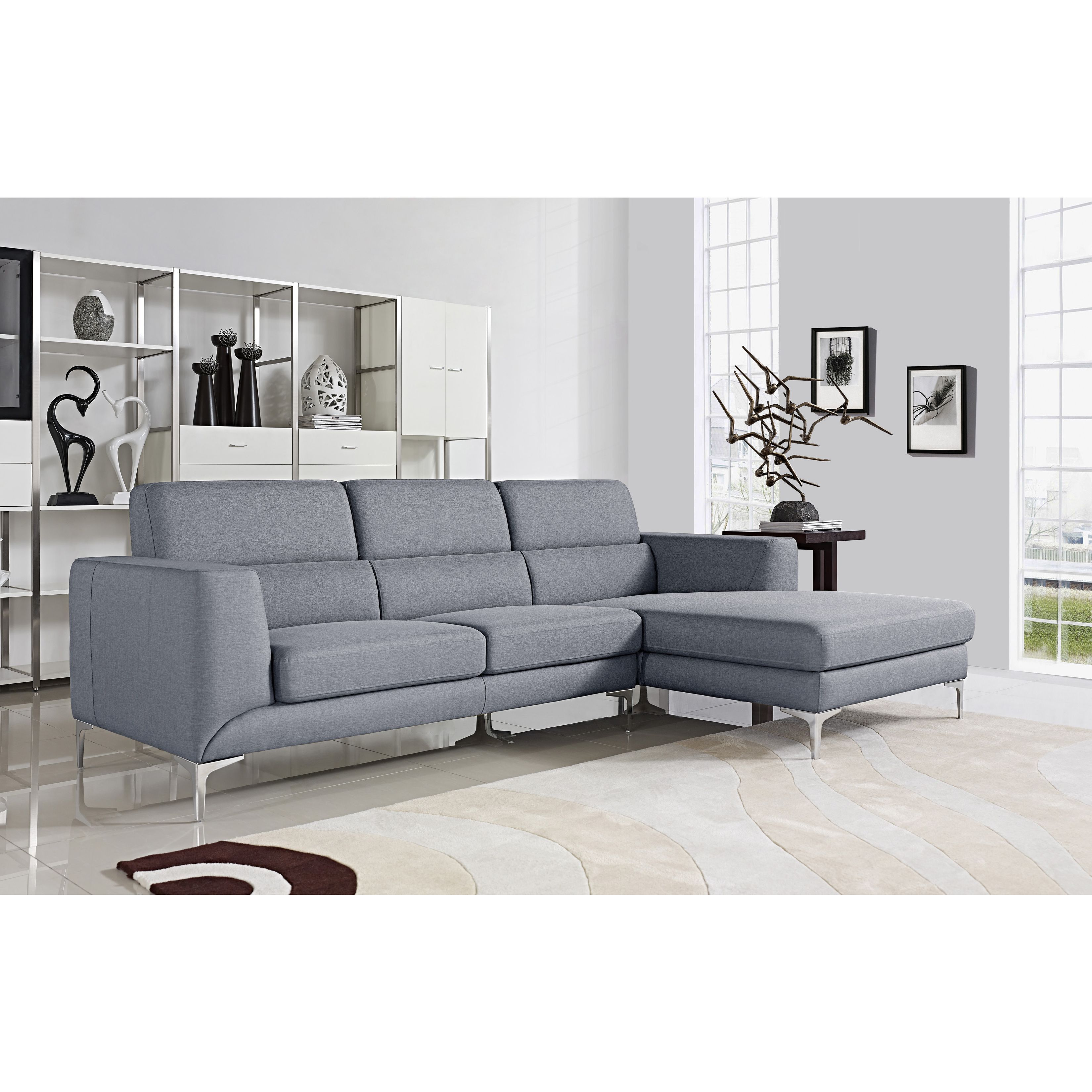 US Pride Furniture Xena Light Grey Modern Sectional Sofa Set Grey