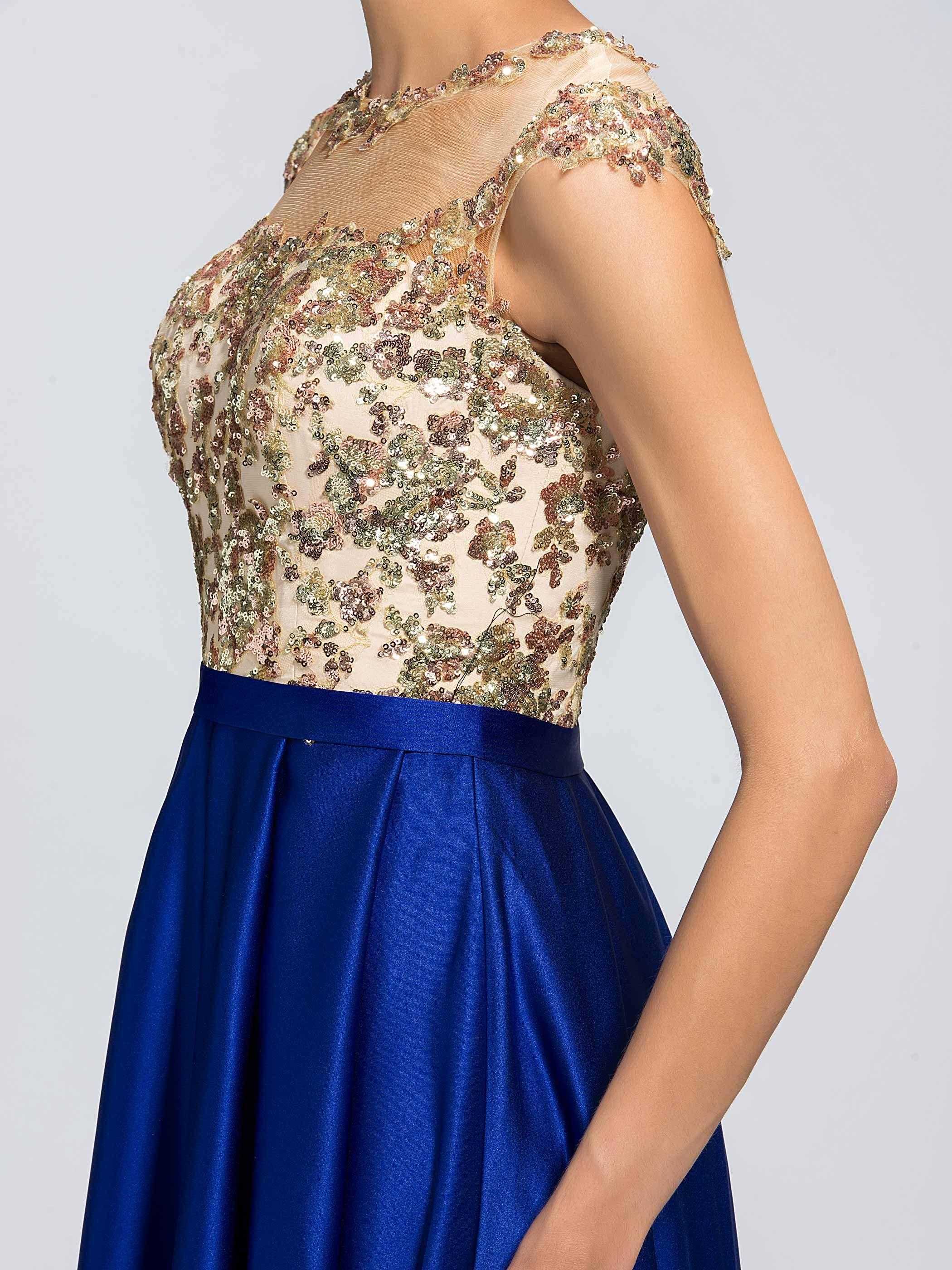 Charming aline jewel neckline appliques long evening dresson sale