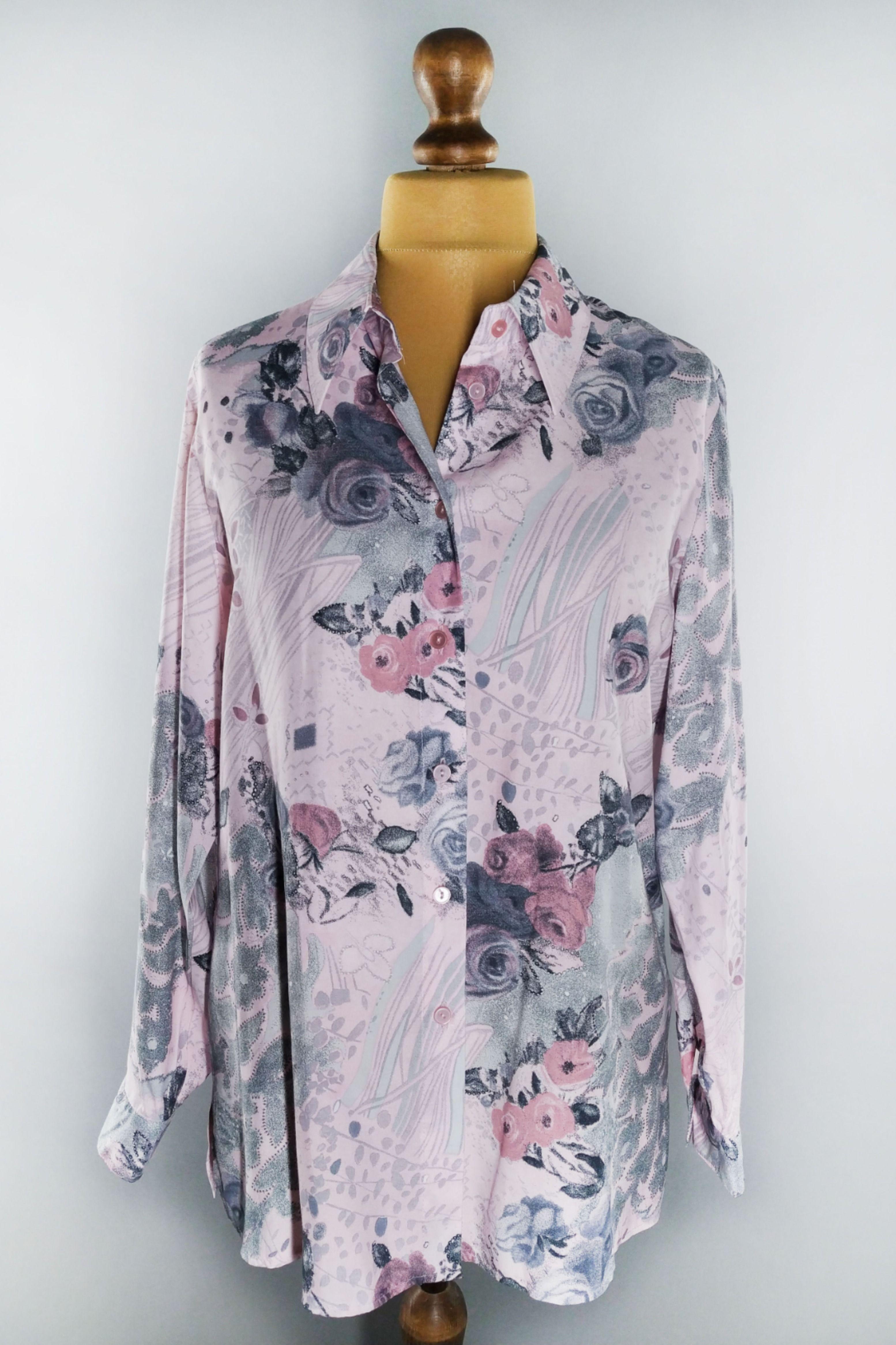 Vintage Pink Floral Blouse In 2020 Pink Floral Blouse Vintage Floral Blouse Floral Blouse