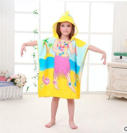 Size 90 60cm Children Cartoon Baby Hooded Bath Towel Bathrobe