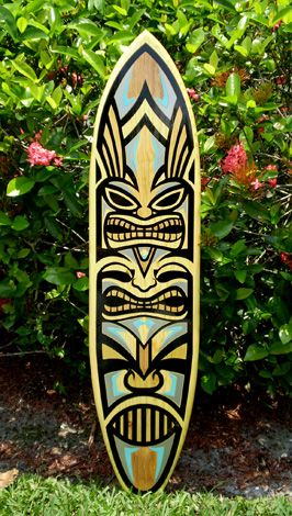 Tiki Art | Silver Tiki Surfboard Artwork Wooden Surf Wall Art Tribal Mask ...