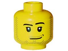 LEGO NEW YELLOW MINIFIGURE HEAD MALE LIGHT BROWN BEARD SMIRK SMILE WHITE TEETH