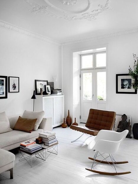Frames / Books / Barcelona Chair / White / Living Room / Buddha / Vases /