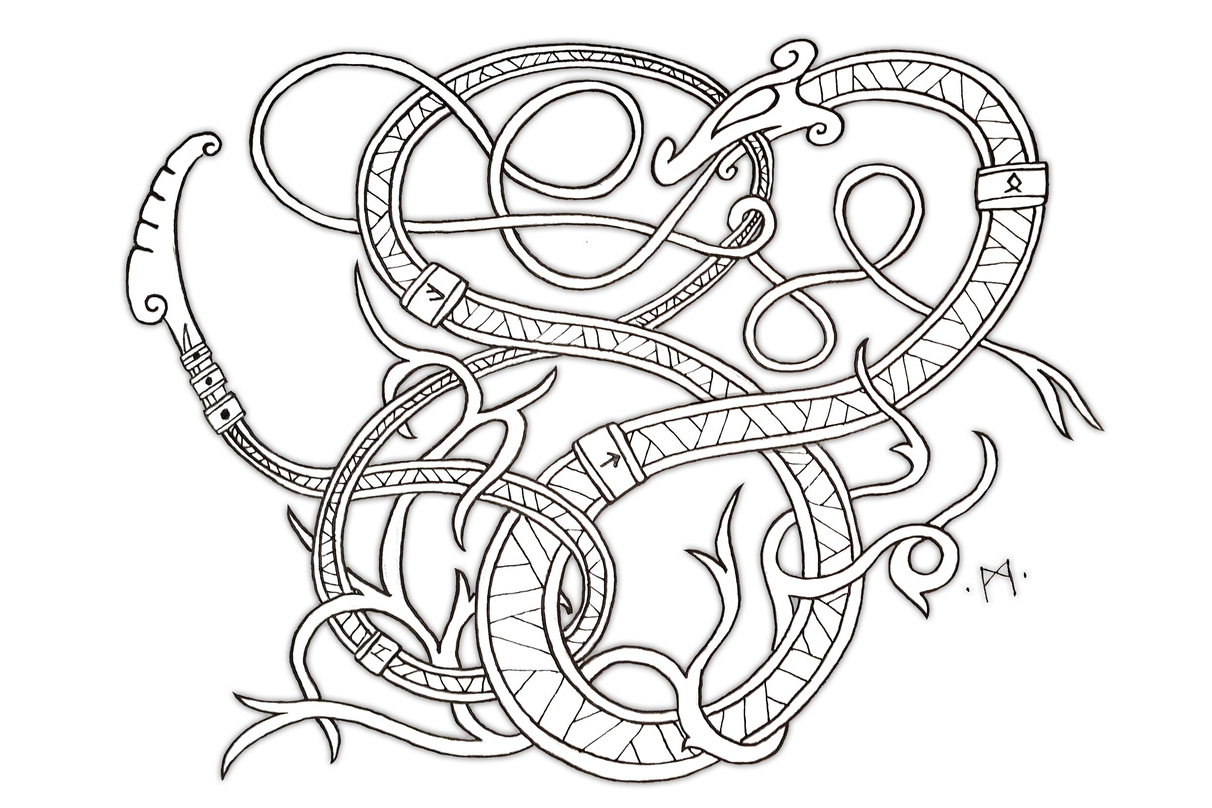 Some new knotwork I drew up for a youtube video on drawing serpents ...