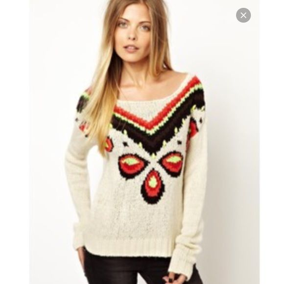 Vero Moda Tribe Placement Print Sweater From ASOS, Vero Moda Tribe Placement Print Sweater With Neon Yellow Beads Vero Moda Sweaters