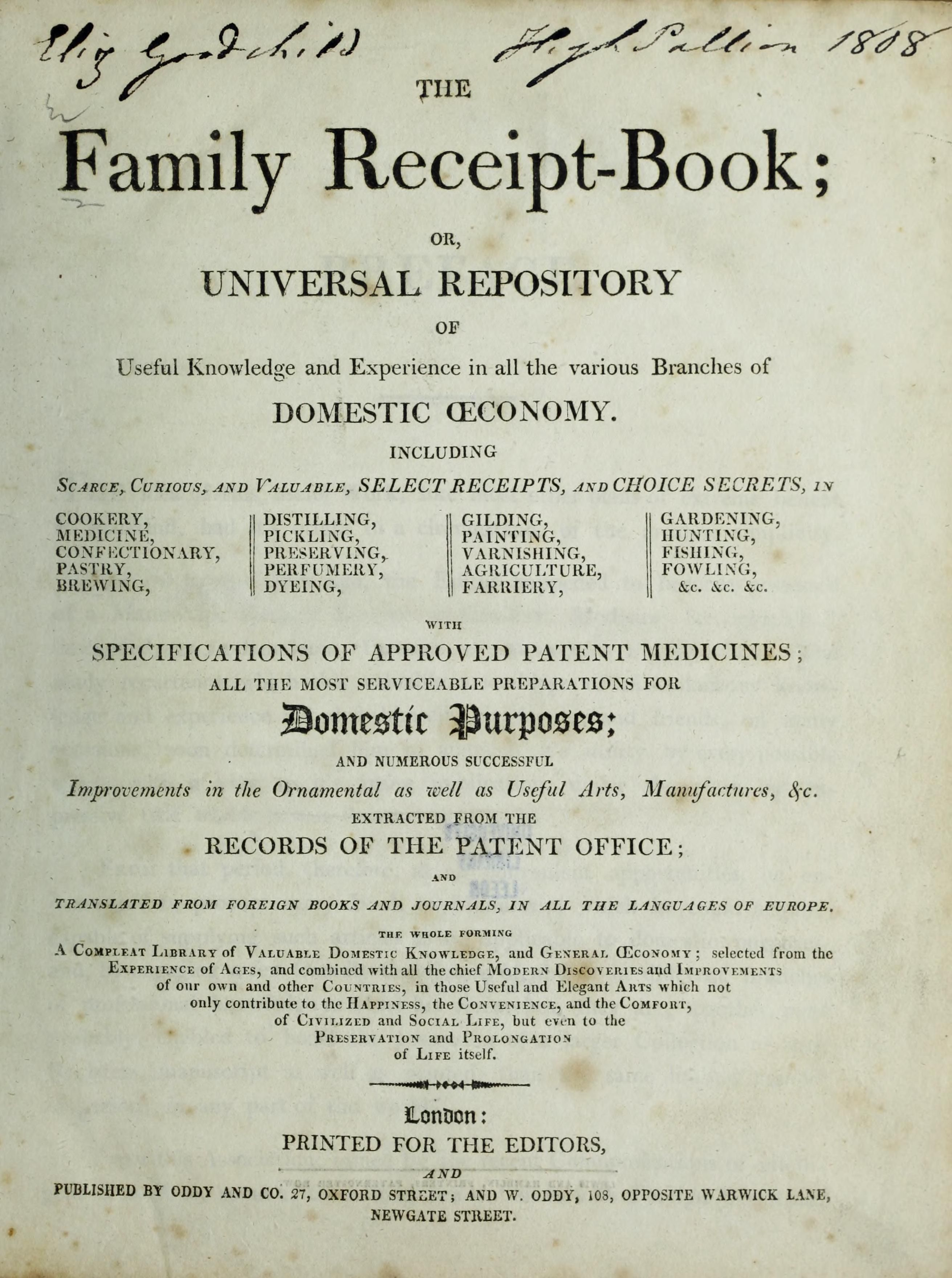 the family receipt book or universal repository 1808 archive