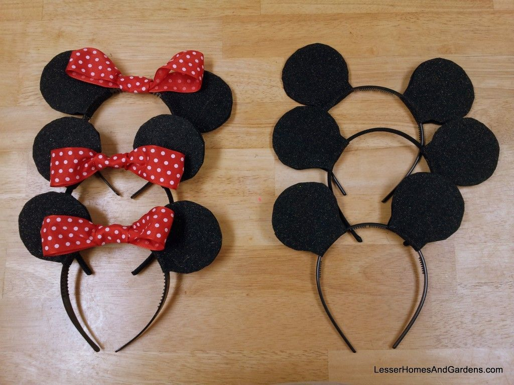 Minnie & Mickey Mouse ears headbands DIY with photos party favor