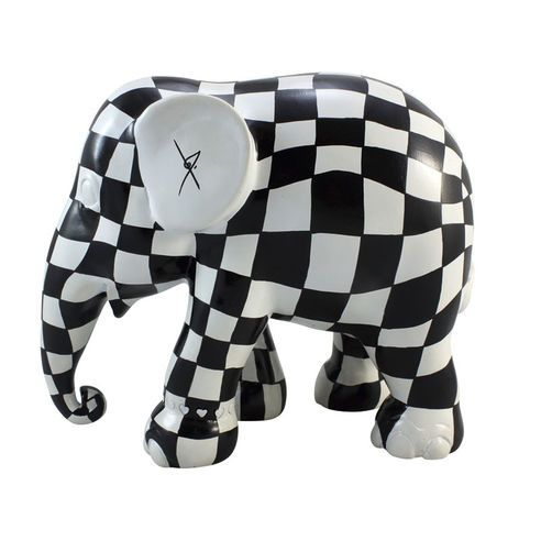Elephant Parade Monochrome Zwart Witje Elephant Ornament: Designed by Jan des Bouvrie, the Zwart Witje Elephant featured in the Emmen 2010 Parade. All Elephant Parade replica elephants are part of an exclusive limited edition series and therefore are produced and available for a limited time only. Each elephant will be delivered with a hologram of authenticity as well as a certificate listing the design name, artist, production number and series, year, and parade city. All replica elephants…