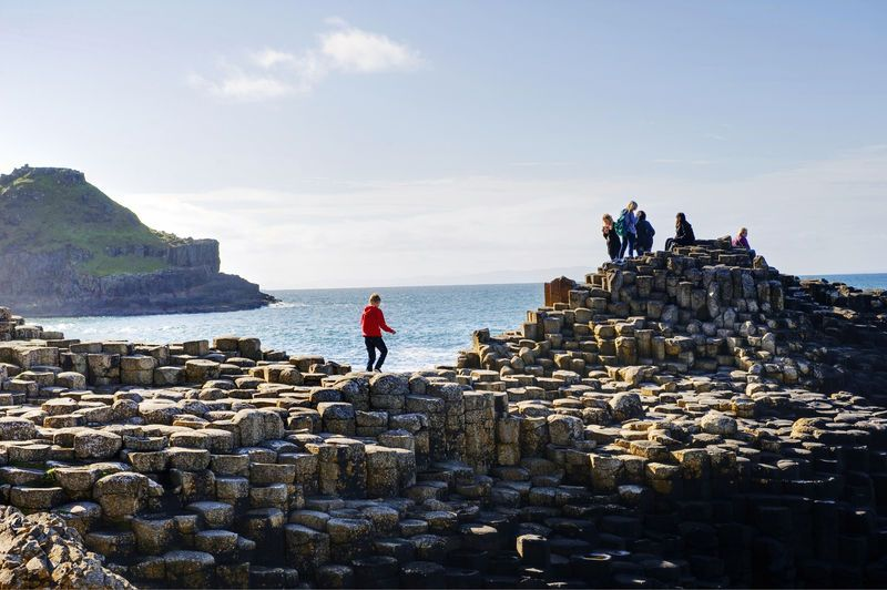 Children in Giant's Causeway