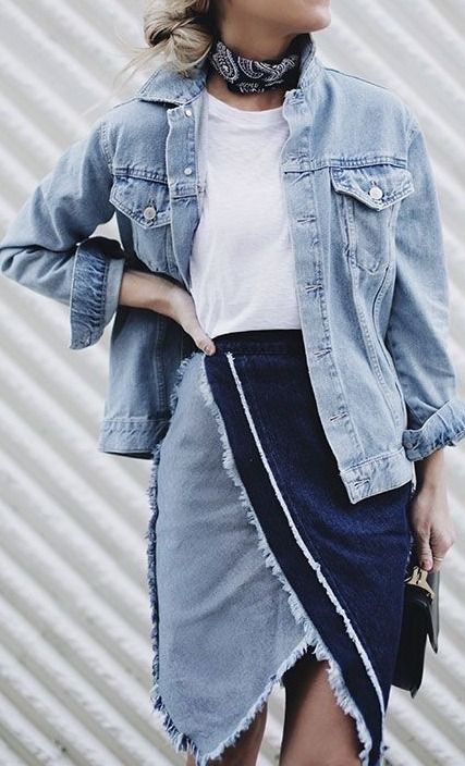 9563ad32ec The perfect street style look is always bettered by some denim pieces. We  love this chic patchwork denim skirt paired with an oversized denim jacket.