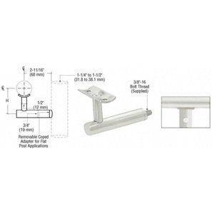 """CRL Mill Post Mounted Hand Railing Bracket by C.R. Laurence. $14.91. For 1-1/2"""", 1.9"""" or 2"""" (38.1, 48.3, 50.8 mm) This CRL Post Mounted Hand Railing Bracket is available in three architectural finishes for 1-1/2, 1.9, or 2 inch (38.1, 48.3 or 50.8 millimeter) diameter Hand Railing Tubing. Brackets are individually packed and come with a 3/8""""-16 threaded bolt for attachment. Use optional Adapter Plate Cat. No. HBFP1MA when using square hand railing. Color: Mill Aluminum 1.9""""""""..."""