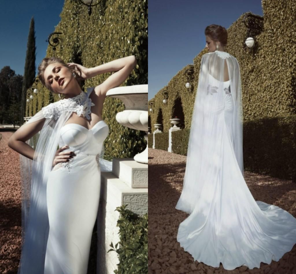 White maternity wedding dress  Zoog  Vintage Wedding Dresses With Cloak Backless Chapel Train