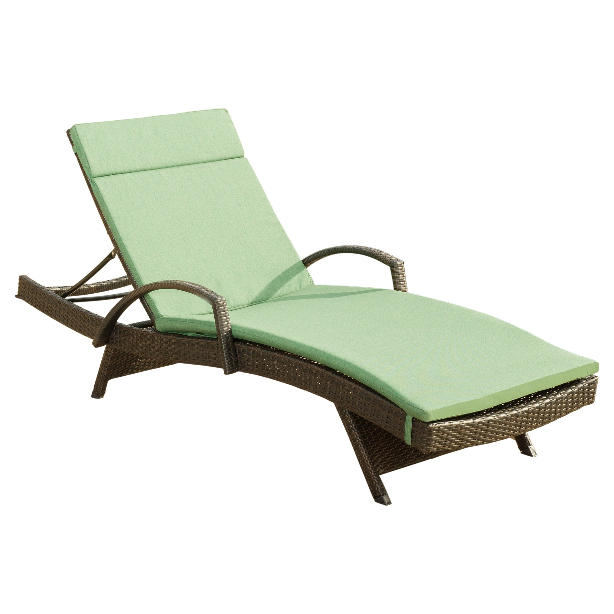 Salem Brown Wicker Adjustable Chaise Lounge With Arms and Cushion ...